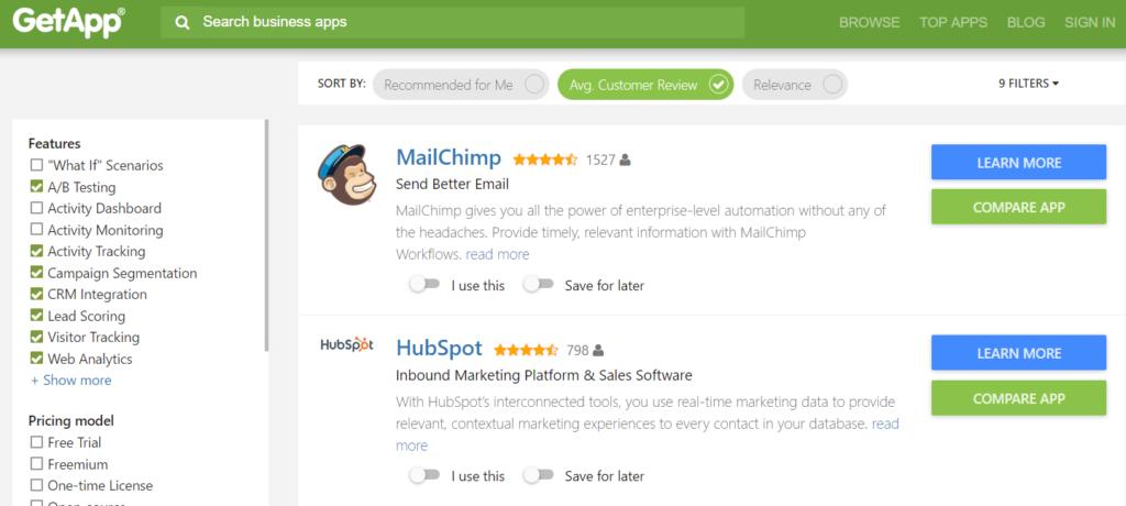 GetApp Features